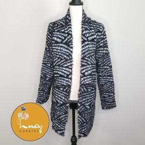 Investments eyelash stripe print open cardigan L62